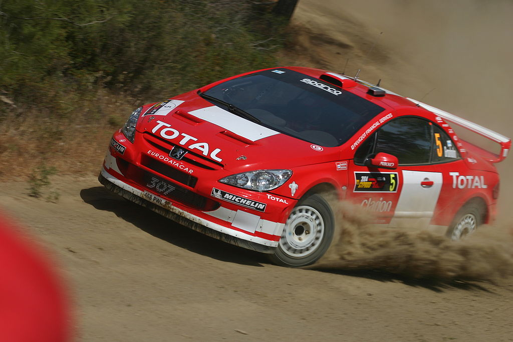 Marcus Grönholm driving his Peugeot 307 WRC during the shakedown of the 2004 Cyprus Rally