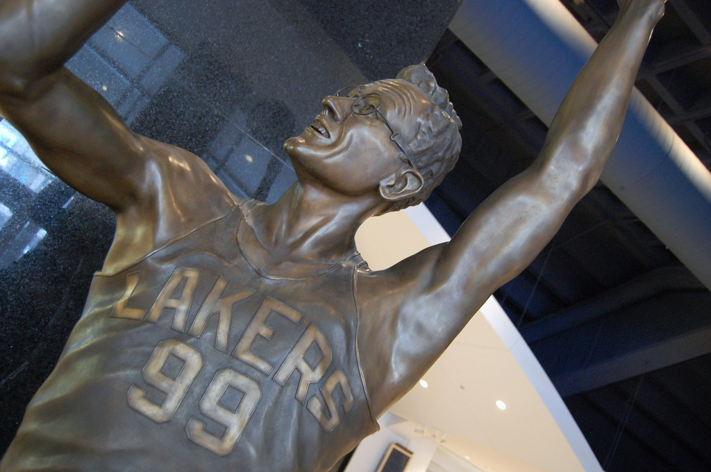 A statue of George Mikan (1924-2005) in the lobby area of the Target Center
