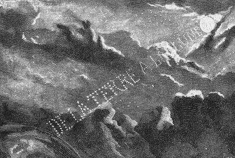 An illustration from the novel 'From the Earth to the Moon' by Jules Verne drawn by Henri de Montaut