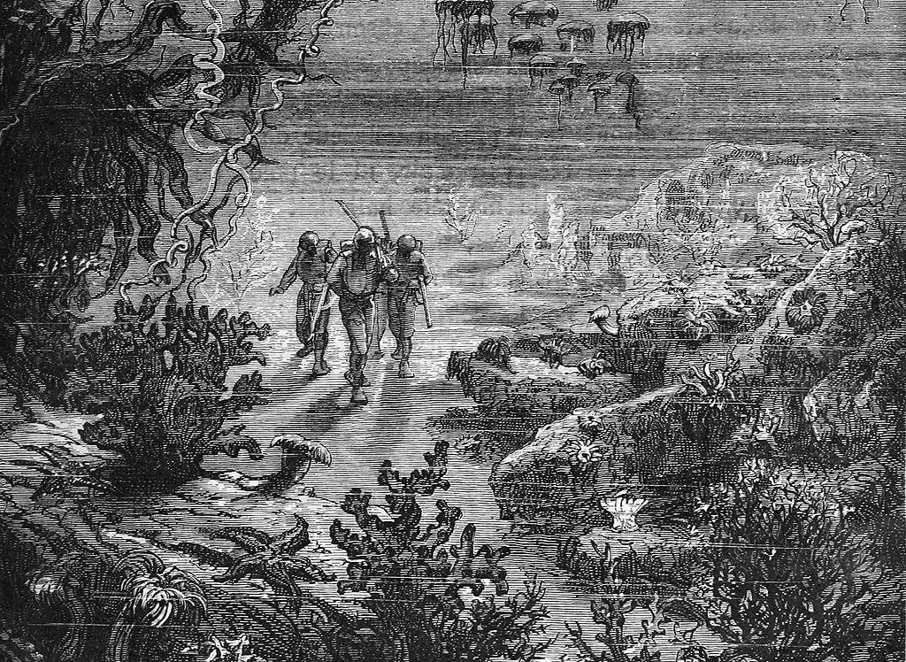 Gravure tirée du roman de Jules Verne Vingt Mille Lieues sous les mers