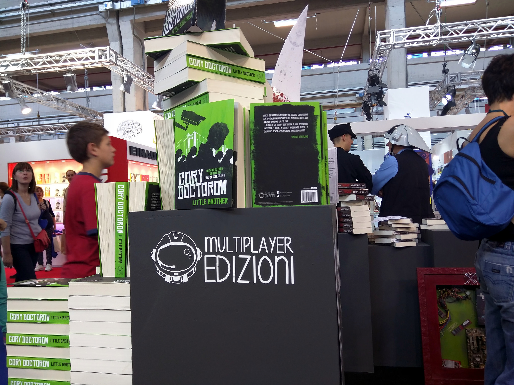 Stack of Little Brothers, Multiplayer Editions booth, Book Fair, Turin, Italy