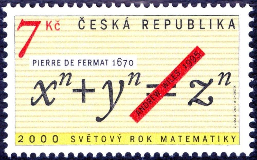 Czech stamp in 2000 about Fermat's last theorem