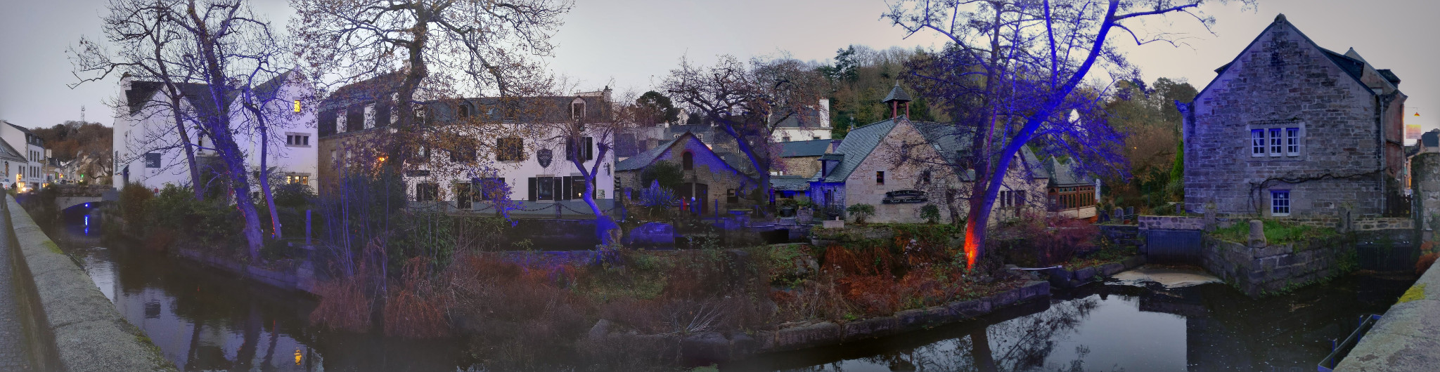 Panoramic of the River Aven passing through Pont-Aven, with nice colours and lights